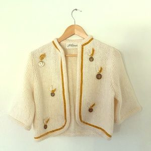 Vintage 1950s Cream Cardigan Sweater w/ Coins